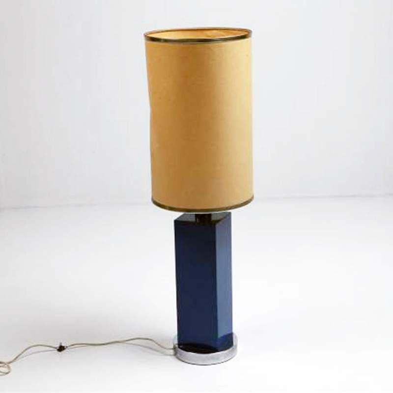 Lampada,in metallo laccato celeste,paralume originale