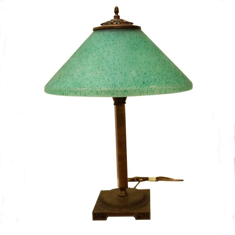 Lampada in ottone diffusore in vetro rugiada verde in superfice, cm.43x30 Ø