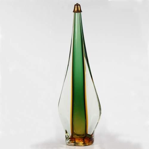 Flavio Poli per Seguso vetri d'Arte, base per lampada in vetro sommerso, cm.66x21x11, anni '50