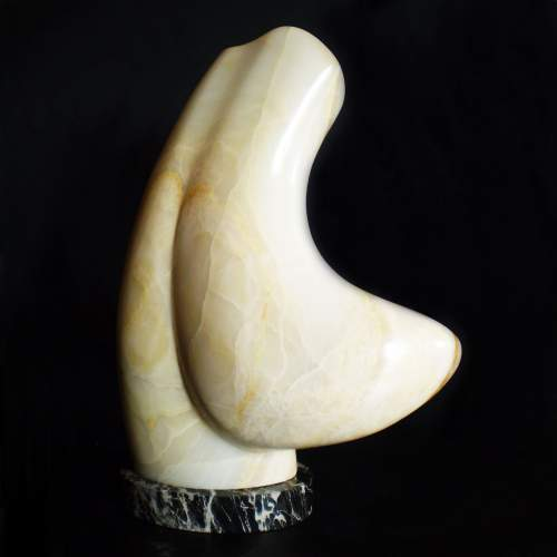 "Pettenò Guido, "" Ettore"", scultura in onice bianco, h. cm. 54, anno 2015"