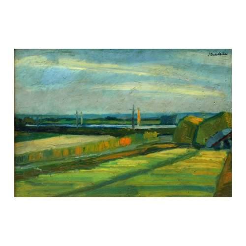 """Stradella Luigi """"campagna di Urbino"""", olio su tavola, cm. 50 x 60, con cornice"""