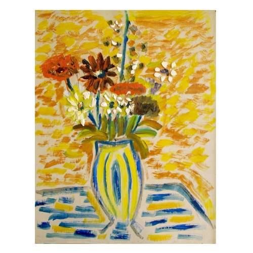 """Chiovato Luigi """" vaso di fiori """", olio  su compensato, cm.40x50, firmato e datato 1965, con cornice."""
