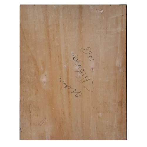 """Chiovato Luigi """" vaso di fiori """", olio  su compensato, cm.40x50, firmato e datato 1965, con cornice. Retro"""