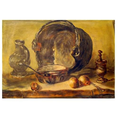 """Valentini A. """" natura morta """", olio su tela, cm. 50 x 70, firmato, con cornice."""