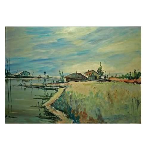 """Leonarda Silvio """" Casolari sul fiume"""", olio su tela, cm. 70 x 50, con cornice."""
