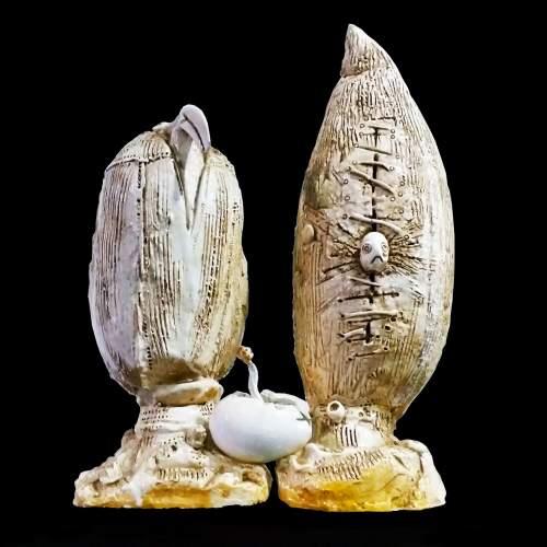 """Rincicotti Luigi ( Fano 1941 ) """"metamorfosi"""" scultura in ceramica bianca, cm.33x20x47,del 1967"""