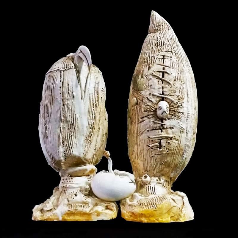 """Luigi Rincicotti  ( Fano 1941 ) """"metamorfosi""""scultura in ceramica bianca, cm.33x20x47,anno 1967"""