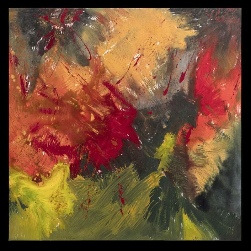 """Carla Rigato ( Autunno sui Colli Euganei """",acrilico su tela, cm.100x100, firmato e datato 2017"""