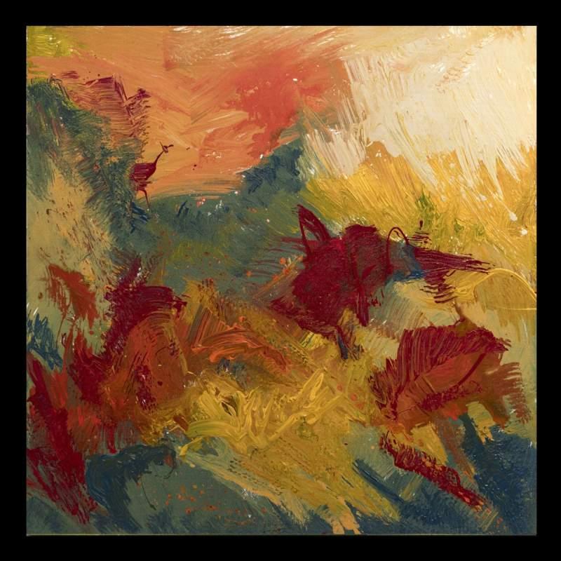 """Carla Rigato, """"Autunno sui colli Euganei - 2 """", acrilico su tela, cm.100x100, firmato e datato 2017"""