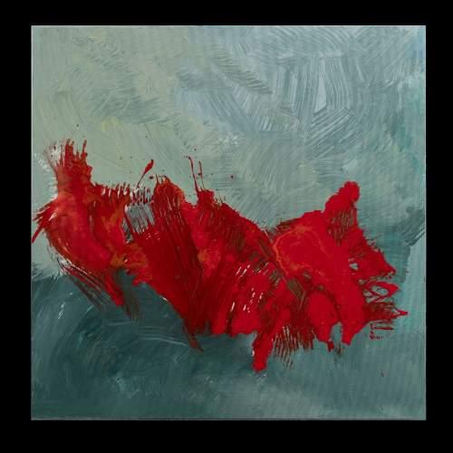 """Carla Rigato, """" Come papaveri nel vento-2 """", cm.80x80, firmato e datato 2018"""