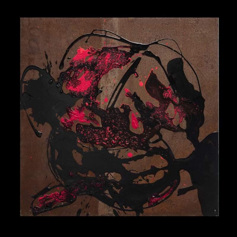 """Carla Rigato """" Come un gomitolo """" , acrilico su ferro, cm.50x50, firmato e datato 2017"""