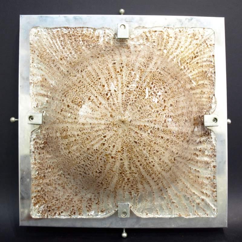 Carlo Nason per Mazzega, apliques, vetro rugiadoso disegno a raggiera, sagomata,acciaio, vetro cm.34x34, totale 39x39, anni '70