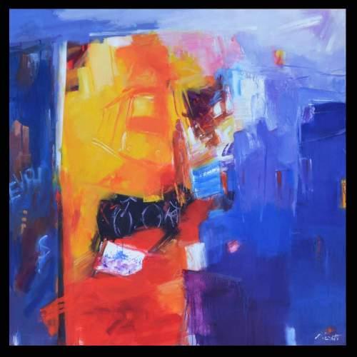 Luigi Marotti, 1 I look for you in the colors of the city,  olio su tela, cn.100x100, anno 2017
