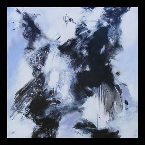 Antonietta Reschiglian, L attimo, tecnica mista su tela, cm.100x100, anno 2010