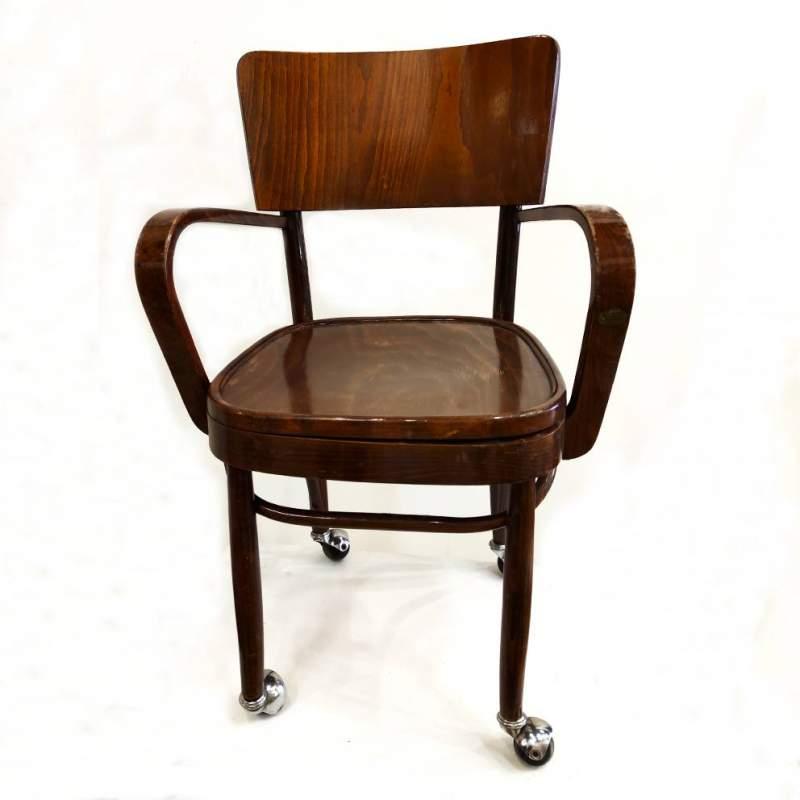 Poltrona  tonnet con braccioli | legno di faggio scuro e rotelline | h.cm. 88x56x47 |1930/40