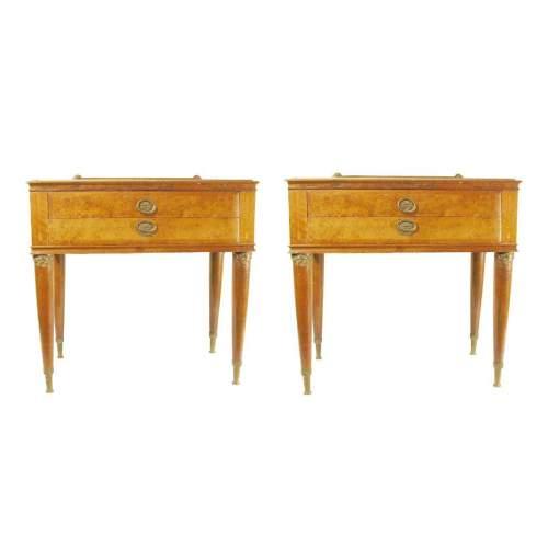 Mobiletto | set di 2  in radica di noce ed intarsi  con bronzetti decorativi | due cassetti |  h. cm.61 x 60 x 33 |anni '60