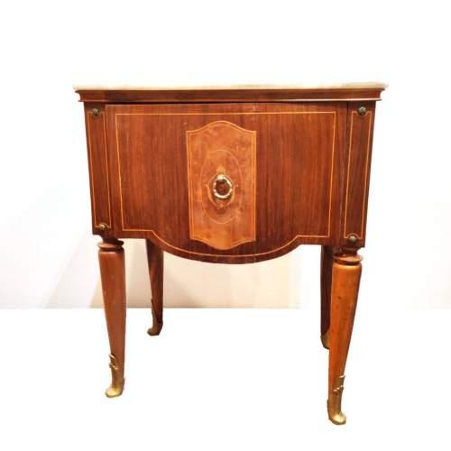 Mobiletto in set di 2  in radica di noce ed intarsi  con bronzetti decorativi | una antina|  h. cm.62x49x34,5 | anni '60