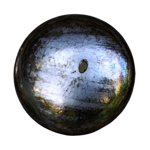 Cavallini, centrotavola, rame sbalzato argentato, alto bordo concavo, decoro a esplosione spazialista, cm.6x26 Ø, anni 50/60