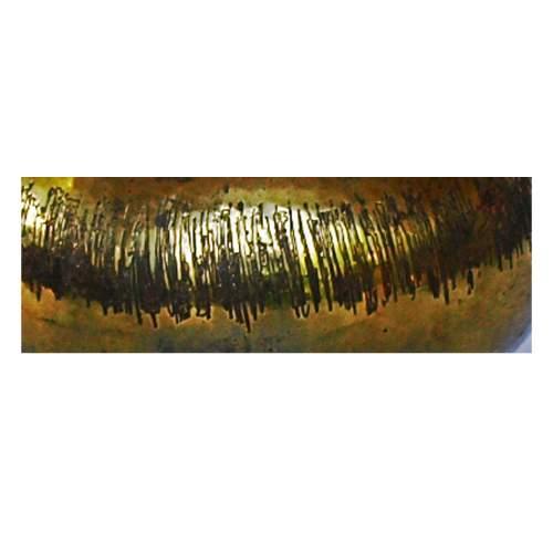Cavallini, centrotavola, ottone sbalzato a mano, alto bordo concavo, decoro a righe irregolari verticali, cm.9x18 Ø, anni 50/60