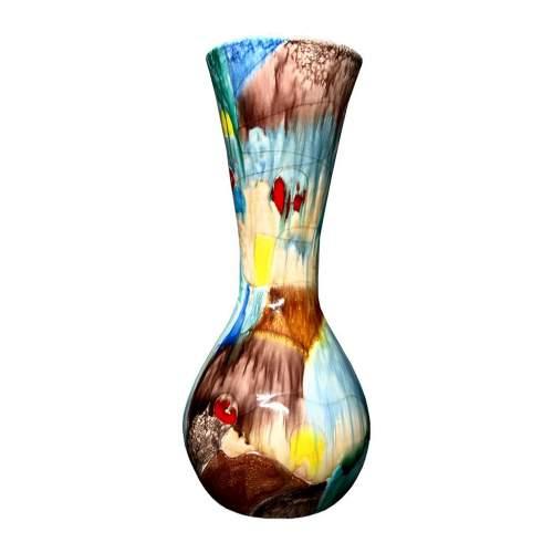 Albisola|Ceramiche Italia |Agenore Fabbri| Albisola | Vaso in ceramica | Decoro a smalti astratto | h cm. 41,5x18 |anno 1957