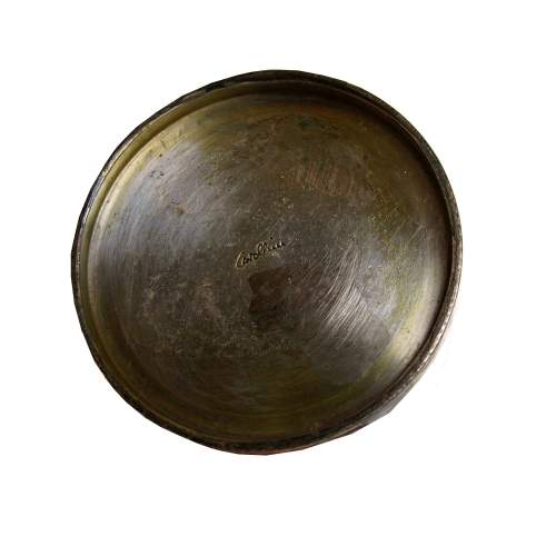 Cavallini, vasetto in rame sbalzato e argentato, decoro inciso, cm.5x5,5 Ø , anni 50/60