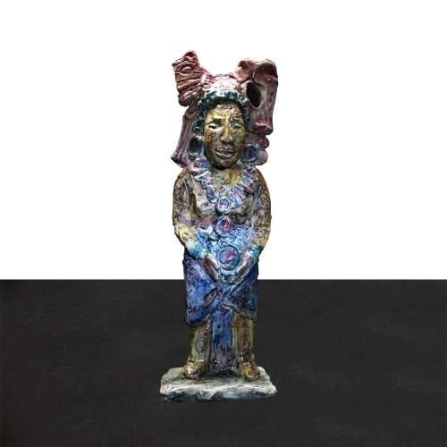 """Mario Anselmo,  Albisola """"Sacerdote Incas """", scultura in terracotta, h.cm.31,5, firmata, anni 50"""