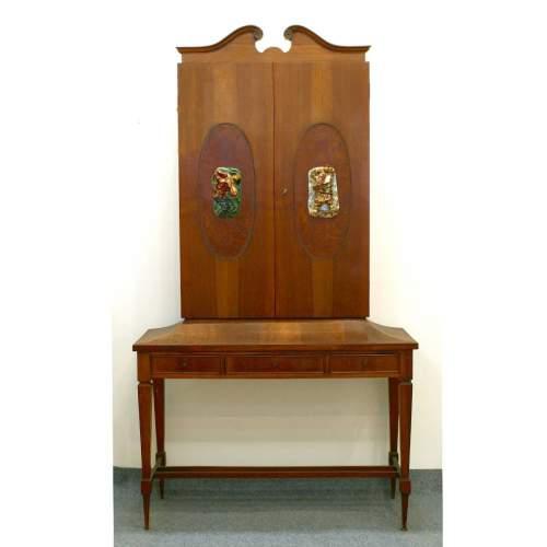 Trumoncino mobile bar | di ispisrazione Giò Ponti | in noce e radica di noce | h.cm.180x80x50 | anni '50/'60