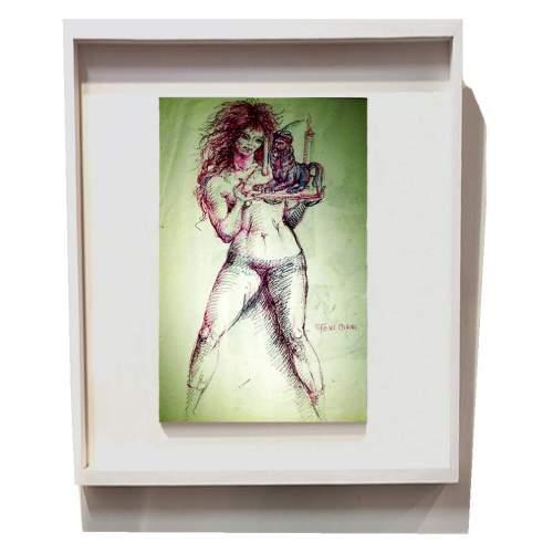 """Toni Boni   """"Venere con sfinge""""  inchiostri colorati su carta   h cm.30x18   anni '50"""