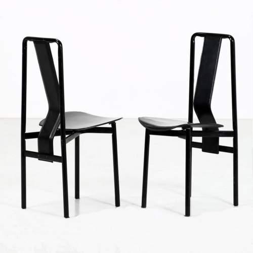 Achille Castiglioni | per Zanotta | set di 2 Sedie Irma |pelle nera| cm.L.40xPr.47x90.xcm.46 | anno 1979