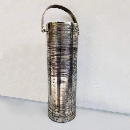 Lorenzo Burchiellaro | Portaombrelli cilindrico in ottone argentato inciso | H cm. 56 x26x18