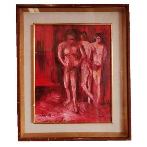 Massino Caglioti | tre personaggi | olio su tavoletta | h.cm. 50x40