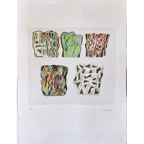 Pietro Consagra | incisione colorata su cartoncino | h.cm. 69,5x49,5 | un esemplare su 200| firmata a numerata