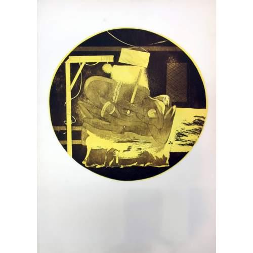 Gaston Orellana | figura dentro una sfera | stampa colorata con forte tonalità di giallo | h.cm. 70x50