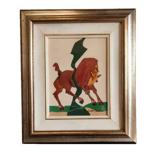 Ernesto Tavernari | Cavallo | olio su tela | h.cm.24,5x18 | firmato | con cornice