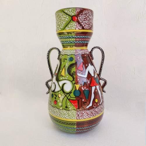 Gialletti   Deruta   Vaso in ceramica decori a smalti policromi   biansato   h cm. 32x18x16   anni 50/60