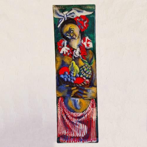 Ermanno Vites | Figura Femminile con cesto di frutta | ceramica decorata con smalti policromi | h.cm.71x23,5x3 | anni 50/60