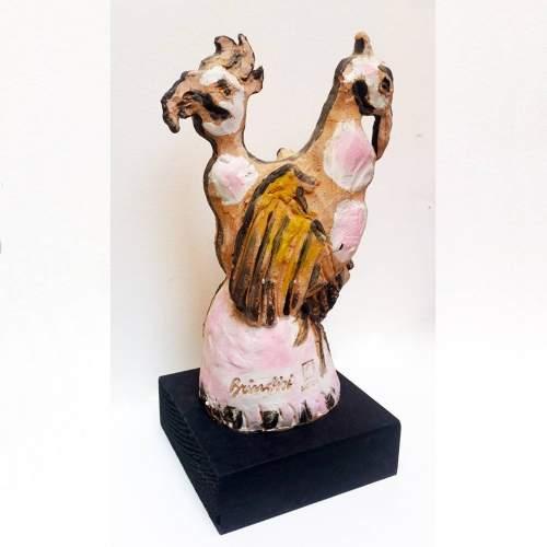 Remo Brindisi  | Coppia di  Gallinelle | h. cm.  32x19 |Firmato Brindisi | fabbrica  Sartori | anni '60