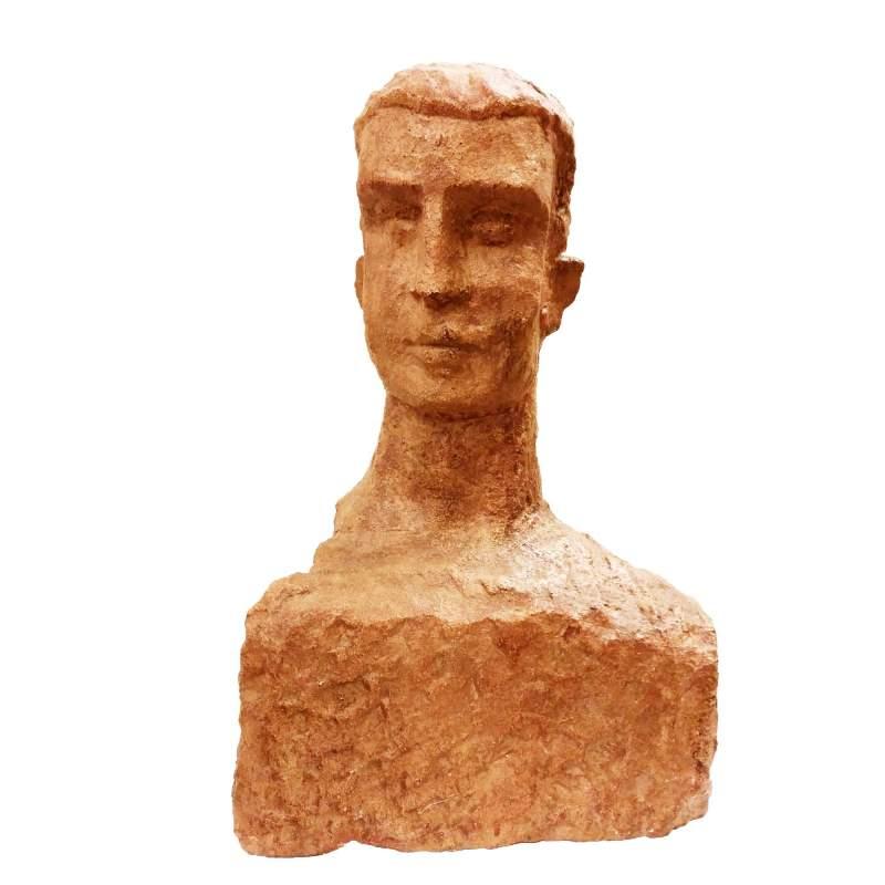 """Toni Boni   """"busto virile """"   scultura in cotto      h.  cm.37,5x25x14     anno 1957   firma"""