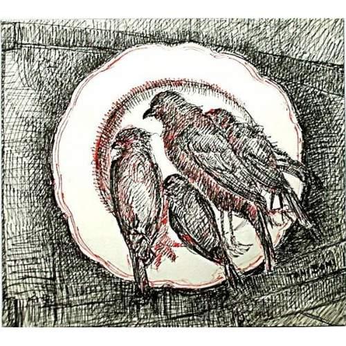 """Toni Boni   """"Natura morta  -uccellini sul piatto   disengo a china e inchiostro   dim. cm. 29.5x33   anno1948"""