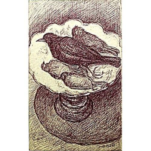 """Toni Boni   """"Natura morta - pennuti su una alzata""""   disegno a china e inchiostro    dim. cm.39x24   anno 1945"""