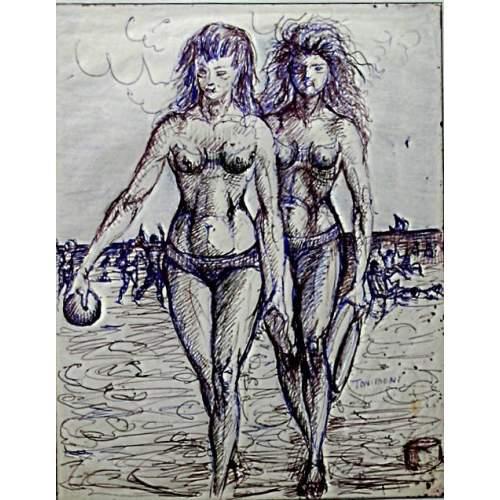 """Toni Boni   """"due amiche in spiaggia""""    disegno a china e inchiostro   h. cm.28x22   anno 1960   Firmato"""