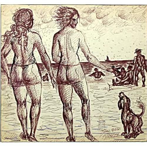 """Toni Boni   """"verso il mare con fido""""   disegno a china e inchiostro   h. cm21x22,3   anno 1960   Firmato"""