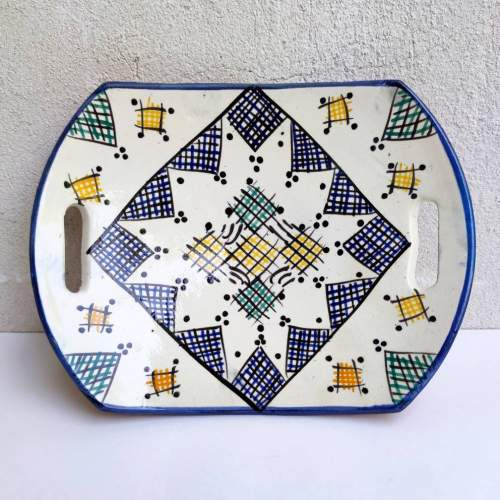 A F | centrotavola in terracotta dipinta | decoro geometrica | h.cm.  5x26,5x20