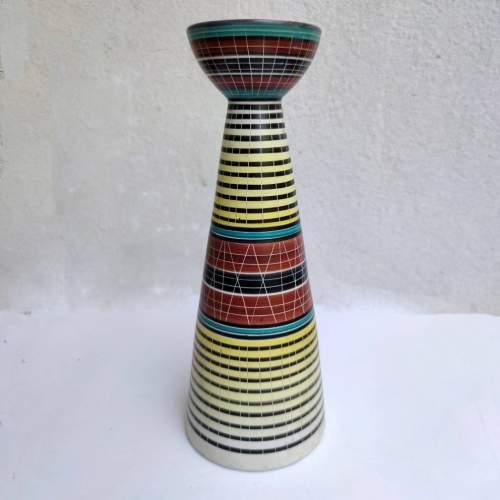 La Lucciola | Vaso in ceramica a ricordo clessidra | decoro geometrico policromo| h cm. 25x9,5