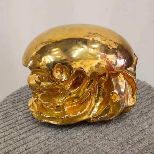 """Carlo Zauli   """" Zolla""""   scultura in ceramica dorata   h.cm. 25x33x25,5   anni '60"""
