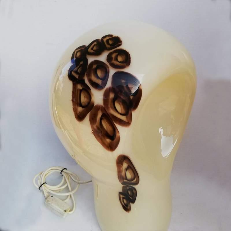 La Murrina | lampada in vetro lattimo con murrine | cm.38x40x19 | Murano anni '70