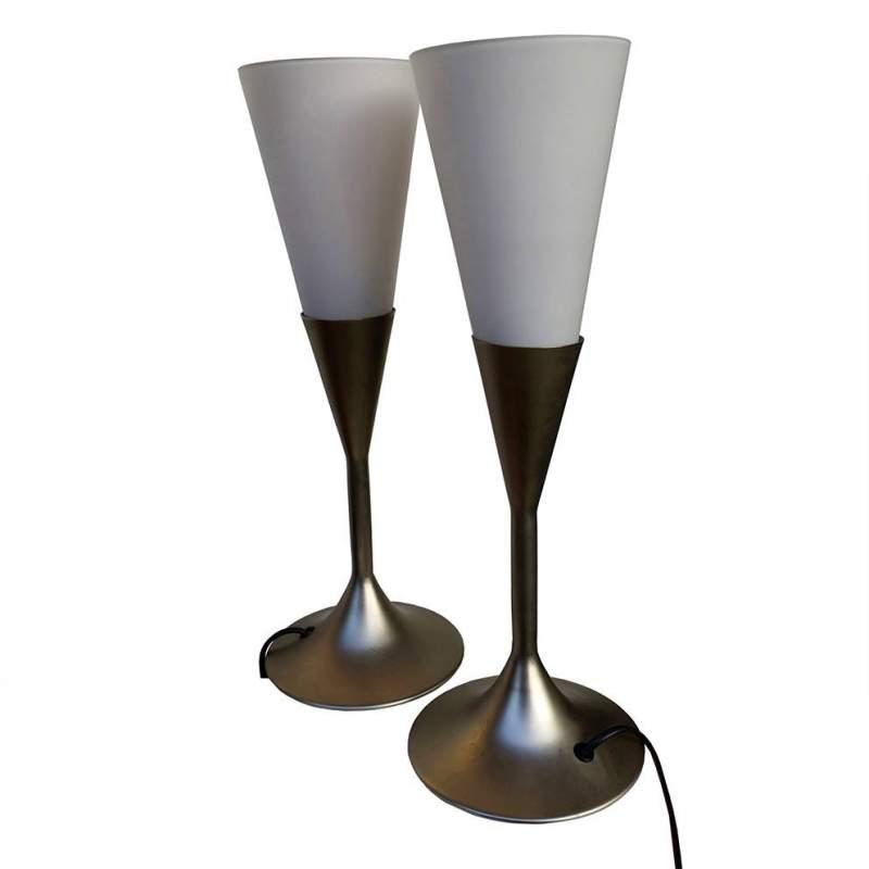 Luci Veneziane |coppia di Lampade in metallo | diffusore conico in vetro bianco satinato