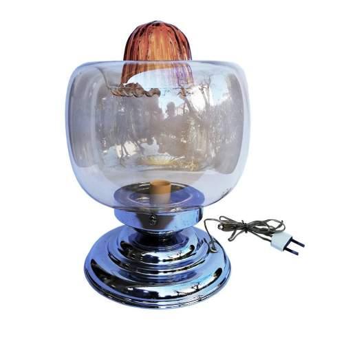 Toni Zuccheri |lampada| vetro con sfumature di opalino e giallo con sagomatura irregolare | h.cm. 29x 19 |anni '70