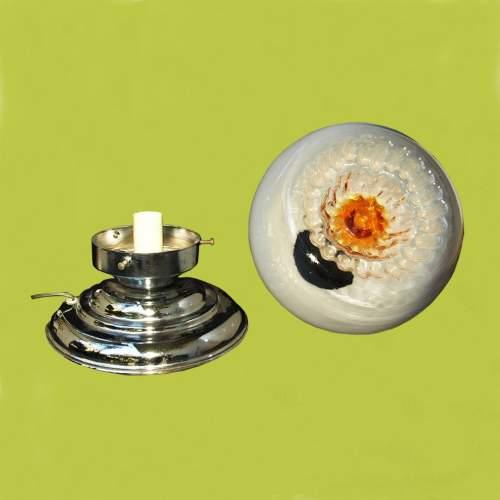 Toni Zuccheri | lampada in metallo cromato |diffusore in vetro con sfumature di opalino e giallo con sagomatura irregolare
