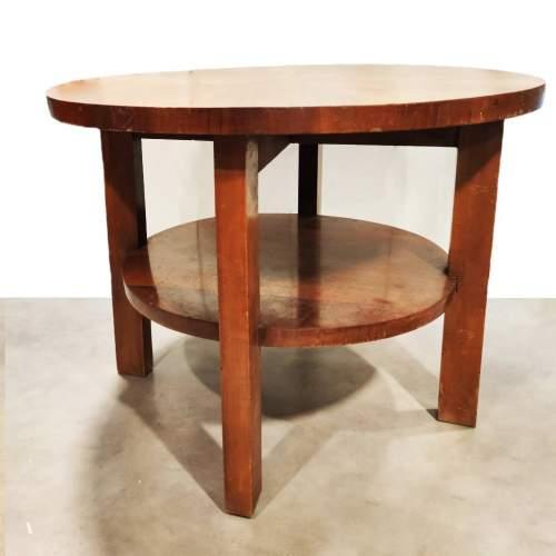 Tavolo da appoggio | in radica di noce | 4 gambe due ripiani | h.cm. 63,5 x 80 | anni '30